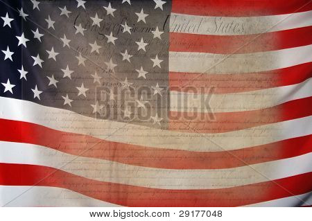 Bill of Rights with USA Flag as background for Clip-Art poster