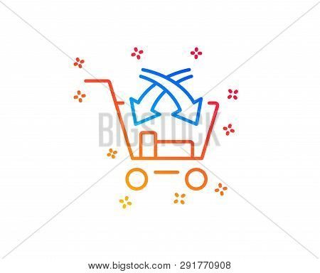 Cross Sell Line Icon. Market Retail Sign. Gradient Design Elements. Linear Cross Sell Icon. Random S