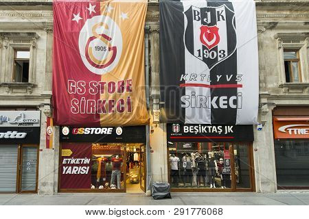 Istanbul, Turkey 04 22 2016: Galatasaray And Besiktas Football Shops In Istanbul. Rivals Football Te