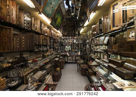 Grand Bazaar, Istanbul, Turkey - 04 23 2016: Antiquarian Old And Traditional Wooden Shop In The Gran