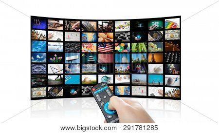 TV set with pictures of smart television and remote control,close up. White background.
