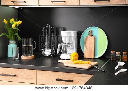 Stylish Kitchen Counter With Set Of Houseware