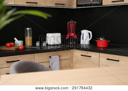 Kitchen Interior With New Furniture, Appliances And Houseware