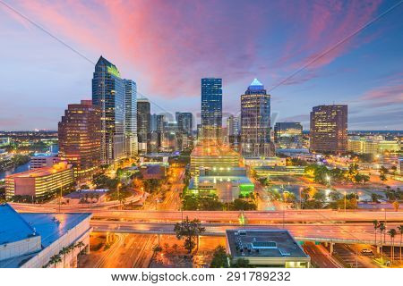 Tampa, Florida, USA aerial downtown skyline at dusk. poster
