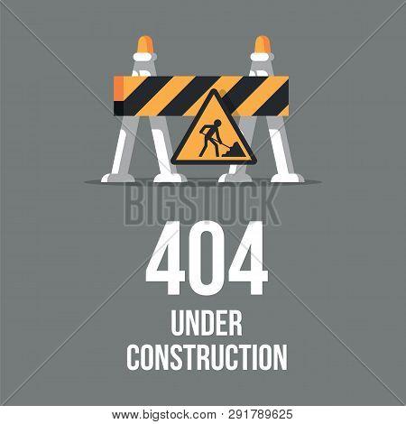Website Under Construction. Internet 404 Error Page Not Found. Webpage Maintenance, Error 404, Page