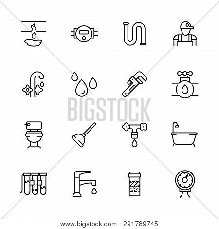 Icon Set Repair And Plumbing. Contains Such Symbols Pipes, Piping, Faucet, Toilet, Bathtub In Bath R