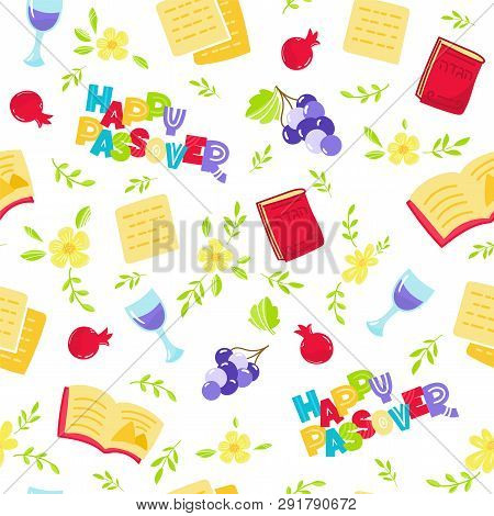 Passover Seamless Pattern Jewish Holiday Pesach . Hebrew Text: Happy Passover. Vector Illustration D