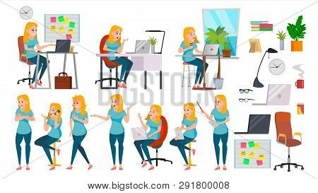 Business Woman Lady Character . Working Female In Action. It Startup Business Company. Effective Sal