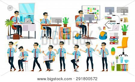 Business Man Character . Working Asian People Set. Office, Creative Studio. Asiatic. Business Situat