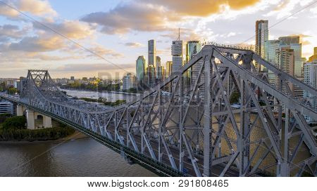 Brisbane, Australia - February 22 2019: Colourful Sunset Over Brisbane Cityscape, Elevated View With