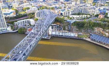 Brisbane, Australia - February 22 2019: Aerial View Looking Down On The Story Bridge And Howard Smit