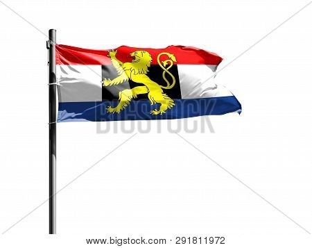 National Flag Of Benelux On A Flagpole Isolated On White Background