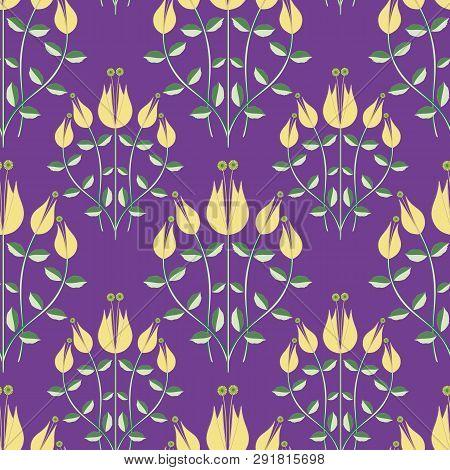 Modern Damask Style Design Of Stylised Yellow Flowers On A Purple Background. Elegant Seamless Half