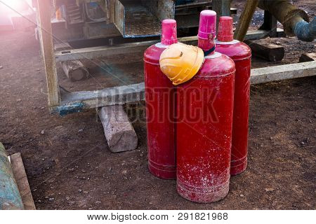 Gas Cylinders Used Welding Industrial In Factory. Acetylene And Gas Steel Storage Tanks For Welding.