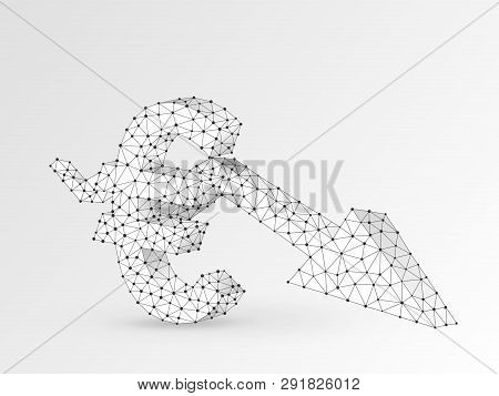 Euro Currency Downtrend Arrow Chart. Business Polygonal Vector Origami 3d Illustration. Low Poly Suc