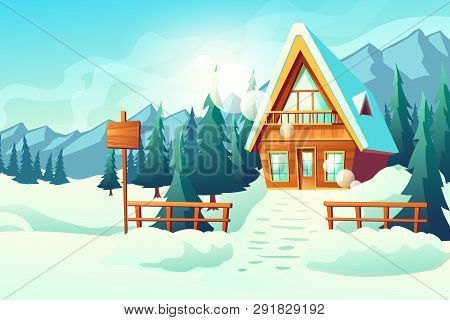 Country Or Village Cottage House In Snowy Mountains Cartoon Vector. Winter Resort Comfortable, Small