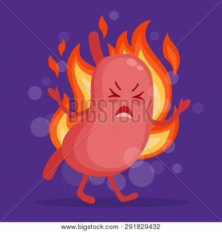 Stomach Heartburn Cartoon Character In Flat Design. Epigastric Burning Concept Vector Illustration.