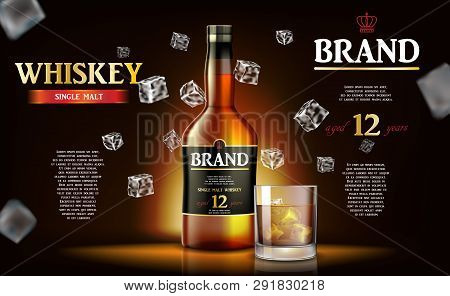 Whiskey Ads Label Design. Realistic Glass Whiskey Bottle With Flying Ice Cubes On Dark Background. V