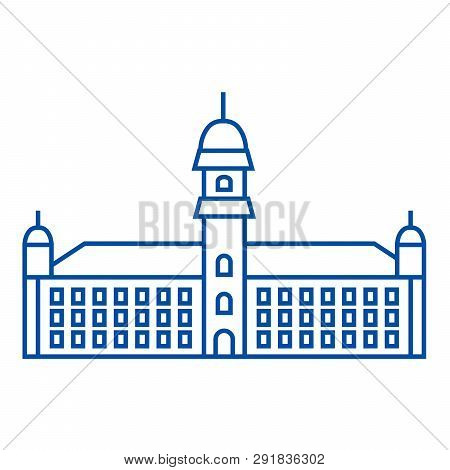 Townhall Line Icon Concept. Townhall Flat  Vector Symbol, Sign, Outline Illustration.