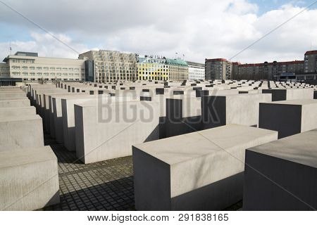 BERLIN, GERMANY - MARCH 26, 2016: View of the blocks that make up the Holocaust Memorial.