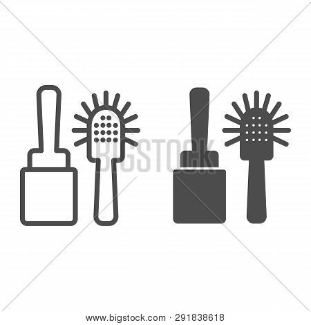 Toilet brush line and glyph icon. Cleanup vector illustration isolated on white. Household outline style design, designed for web and app. Eps 10. poster
