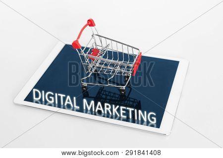 Digital Marketing. Shopping Cart On Digital Tablet, On White Background