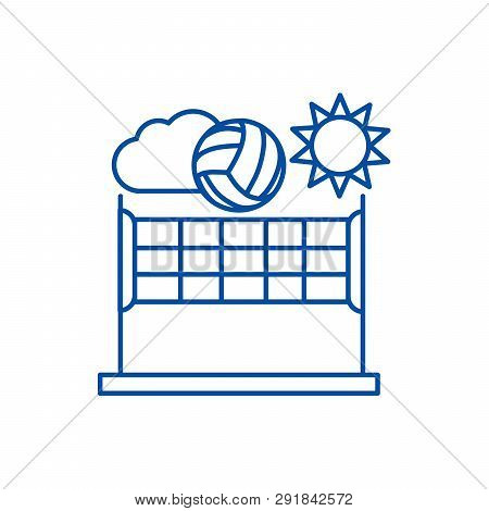 Volleyball, Summer Sport Line Icon Concept. Volleyball, Summer Sport Flat  Vector Symbol, Sign, Outl