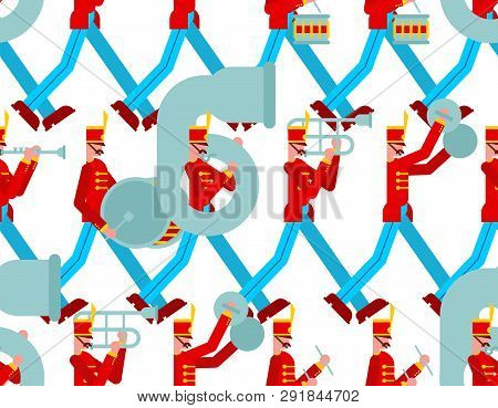Military Band Pattern Seamless. Soldiers With Musical Instruments. Enlisted Man And Drum And Trombon