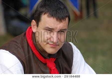 KIEV, UKRAINE - SEP 19: Participant of Festivale of medieval costume wears historical costume September 19, 2010 in Kiev, Ukraine