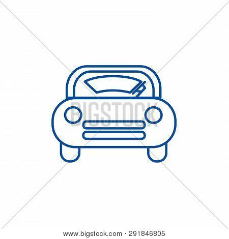 Windshield Car Line Icon Concept. Windshield Car Flat  Vector Symbol, Sign, Outline Illustration.