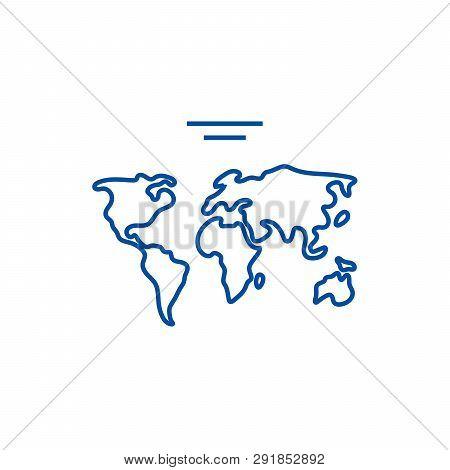World Map  Line Icon Concept. World Map  Flat  Vector Symbol, Sign, Outline Illustration.
