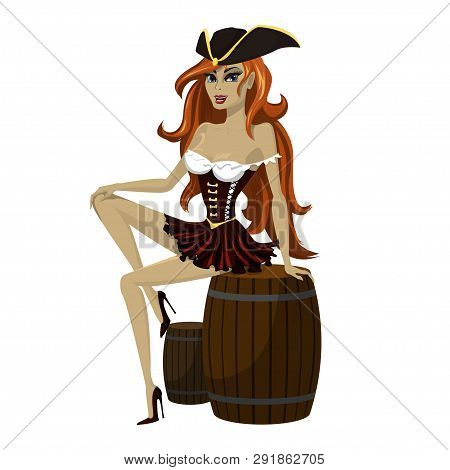 Girl Pirate With Beautiful Long Red Hair In A Pirate Hat Playfully Sits On A Wooden Barrel. Vector I