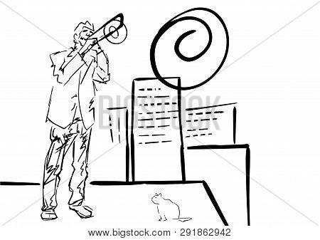 Trombone Player Plays On Roof. City Jazz Illustration. Jazzman And Kitten. Trombonist Silhouette. Bl