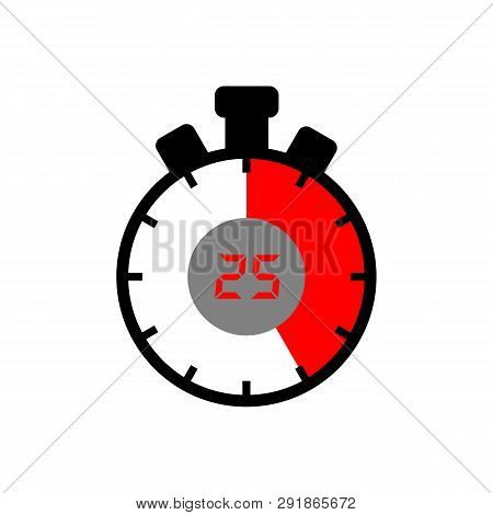 25 Minute Icon Isolated With White Background. Simple 25 Minute Sign Icon. The Red Black Isolated St