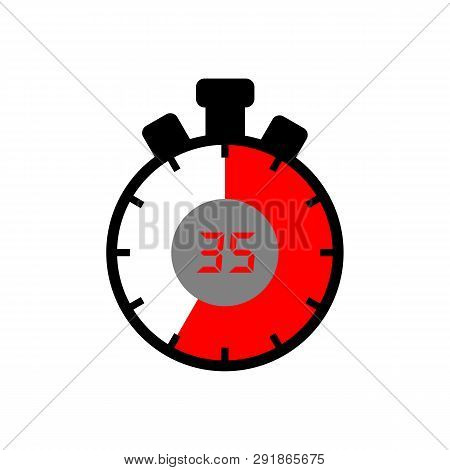 35 Minute Icon Isolated With A White Background. Simple 35 Minute Sign Icon. The Red-black Isolated