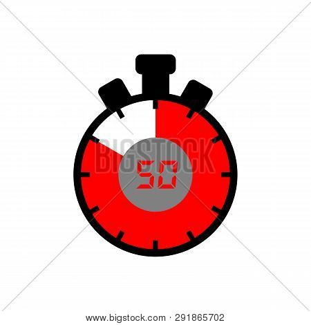 50 Minute Icon Isolated With A White Background. Simple 50 Minute Sign Icon. The Red-black Isolated
