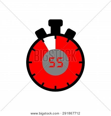 55 Minute Icon Isolated With A White Background. Simple 55 Minute Sign Icon. The Red-black Isolated