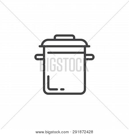 Cooking Pot Line Icon. Linear Style Sign For Mobile Concept And Web Design. Saucepan Outline Vector