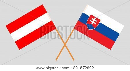 Slovakia And Austria. The Slovakian And Austrian Flags. Official Colors. Correct Proportion. Vector
