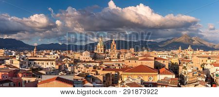 Beautiful Panoramic Aerial View Of Palermo With Church Of The Gesu, Palermo Cathedral And Carmine Ch