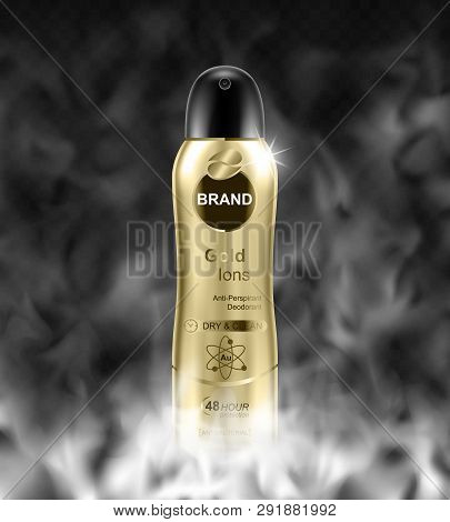 Deodorant Bottle And Fog On Transparent Background. Realistic Vector Illustration