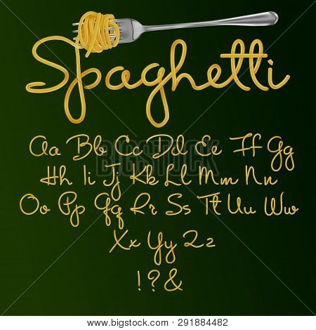 Font From Spaghetti. Alphabet. Vector Illustration Isolated On Green Background.