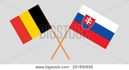 Slovakia And Belgium. The Slovakian And  Belgian Flags. Official Colors. Correct Proportion. Vector