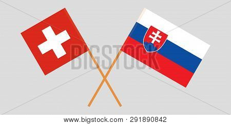 Slovakia And Switzerland. The Slovakian And Swiss Flags. Official Colors. Correct Proportion. Vector