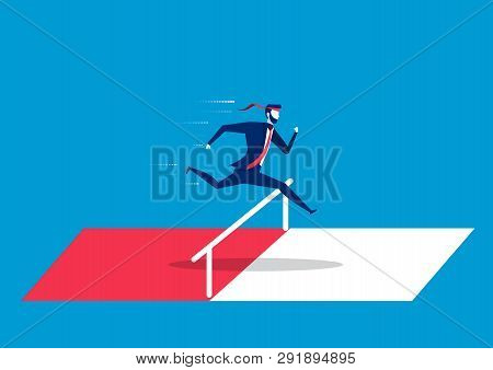 Businessman Jumping Over Hurdles Or Obstacles. Symbol Of Determination, Aspiration, Ambition, Motiva