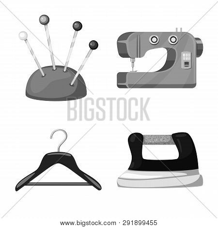 Vector design of dressmaking and textile symbol. Set of dressmaking and handcraft vector icon for stock. poster