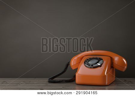 Orange Vintage Styled Rotary Phone On A Wooden Table. 3d Rendering