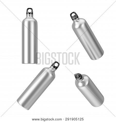Aluminum Sport Metal Drinking Water Bottles In Different Position On A White Background. 3d Renderin