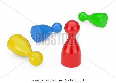 Set Of Multicolour Board Game Pawn Figures Mockup On A White Background. 3d Rendering