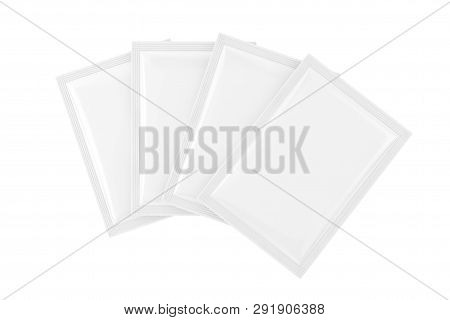 White Blank Bag Packages In Clay Style Mockup  On A White Background. 3d Rendering